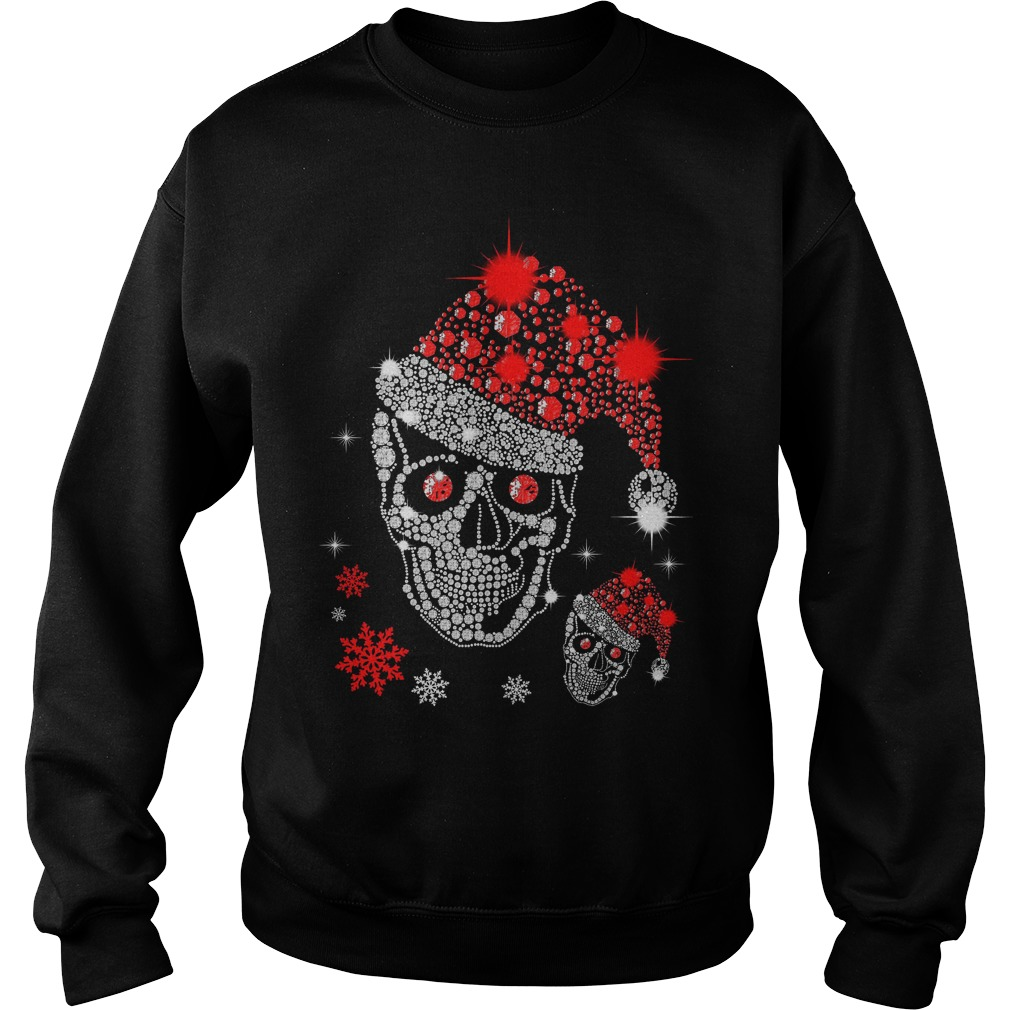Christmas Rhinestone Smiling Skull Sweater
