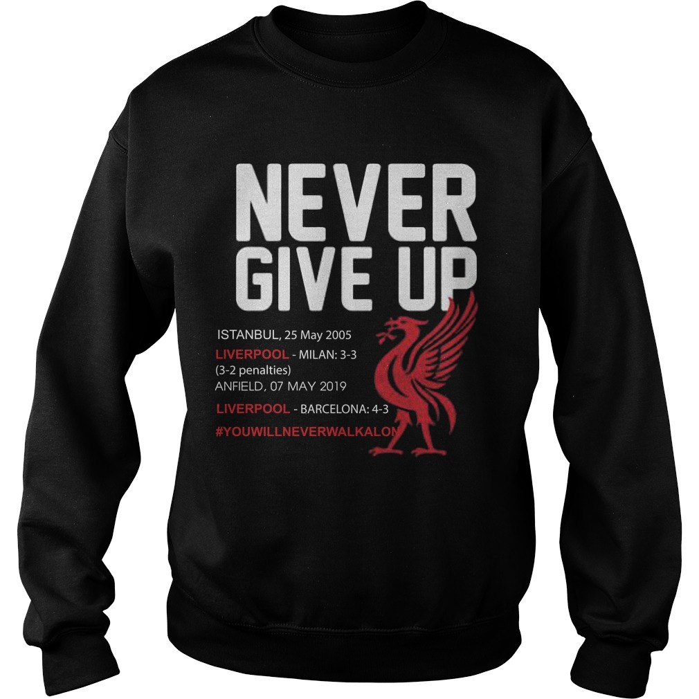 Liverpool Never Give Up #you'llneverwalkalone Sweater