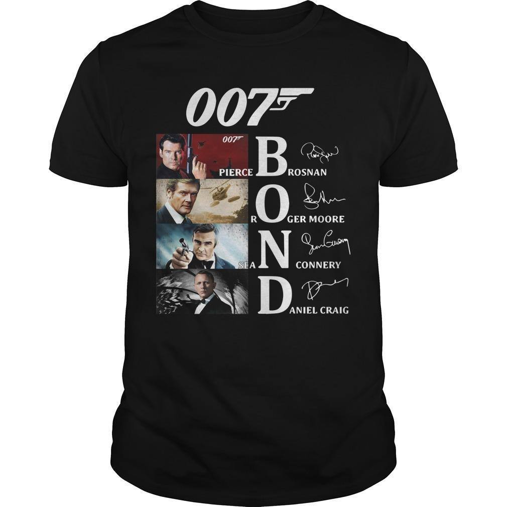 007 Bond Pierce Brosan Roger Moore Sean Connery Daniel Craig Singnatures Shirt