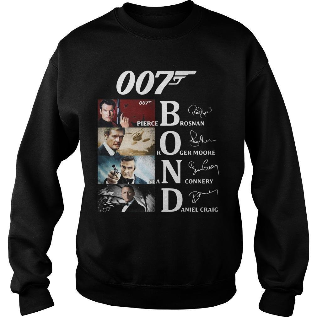 007 Bond Pierce Brosan Roger Moore Sean Connery Daniel Craig Singnatures Sweater
