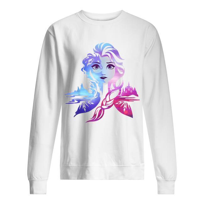 Frozen 2 Elsa Two Tone Gradient Portrait Sweater