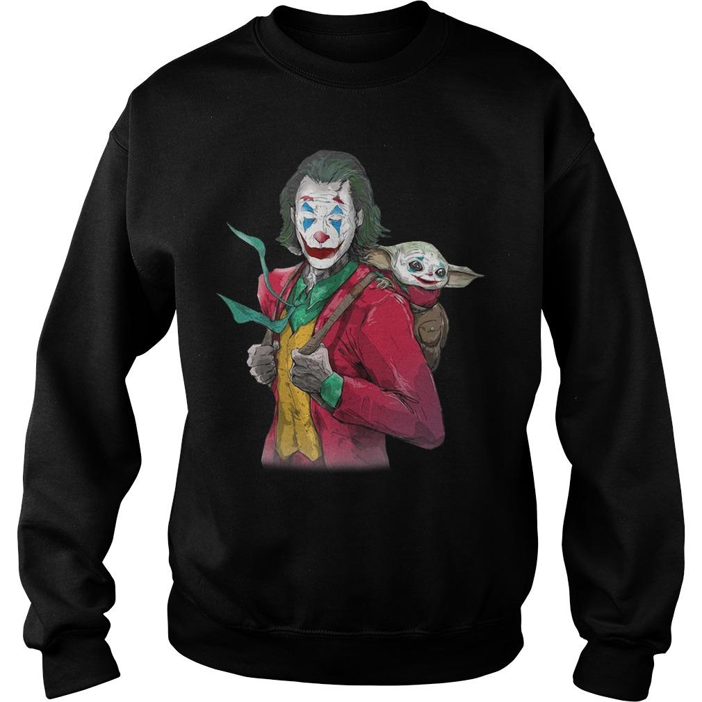 Joker Carrying Baby Yoda On The Back Sweater