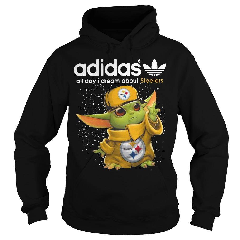 Baby Yoda Adidas All Day I Dream About Steelers Hoodie