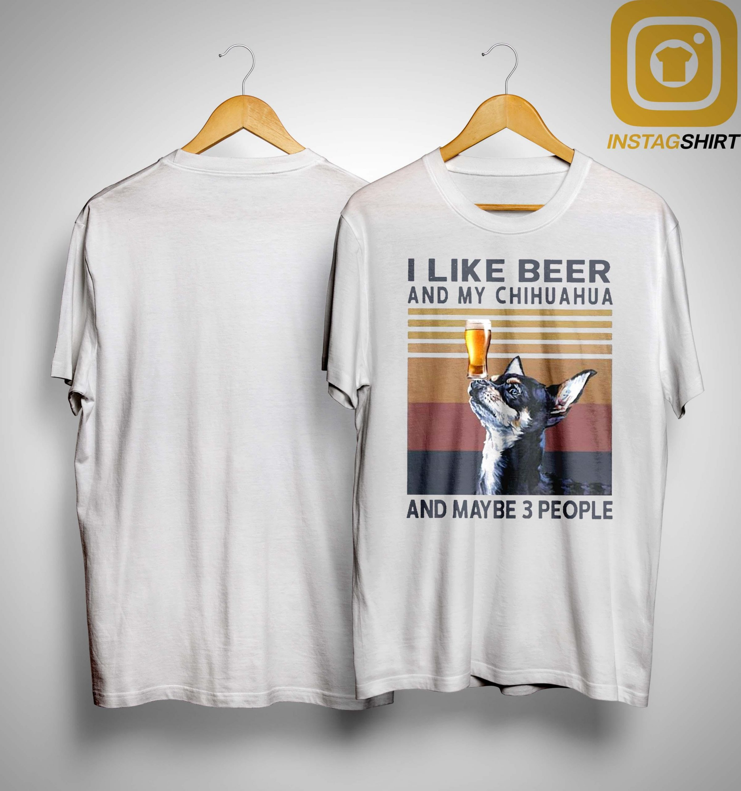 Vintage I Like Beer And My Chihuahua And Maybe 3 People Shirt