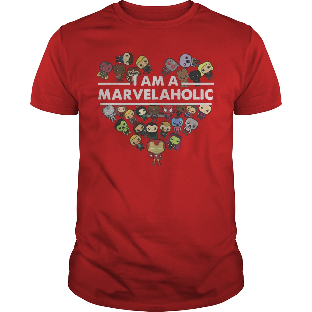 I Am A Marvelaholic Red Guys Tee