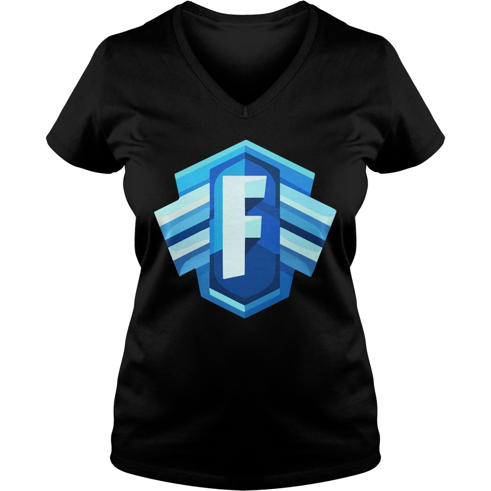 Blue Icon Logo Fortnite Battle Royale Ladies V Neck