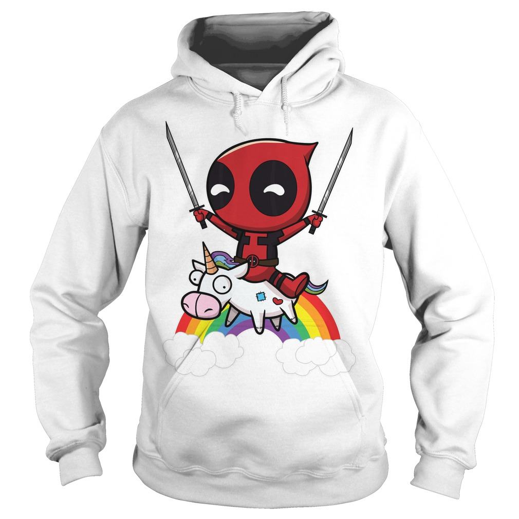 Deadpool Riding A Unicorn Hoodie