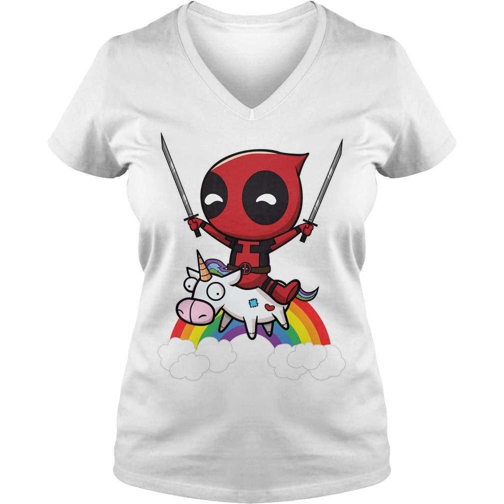 Deadpool Riding A Unicorn V Neck Shirt for Ladies