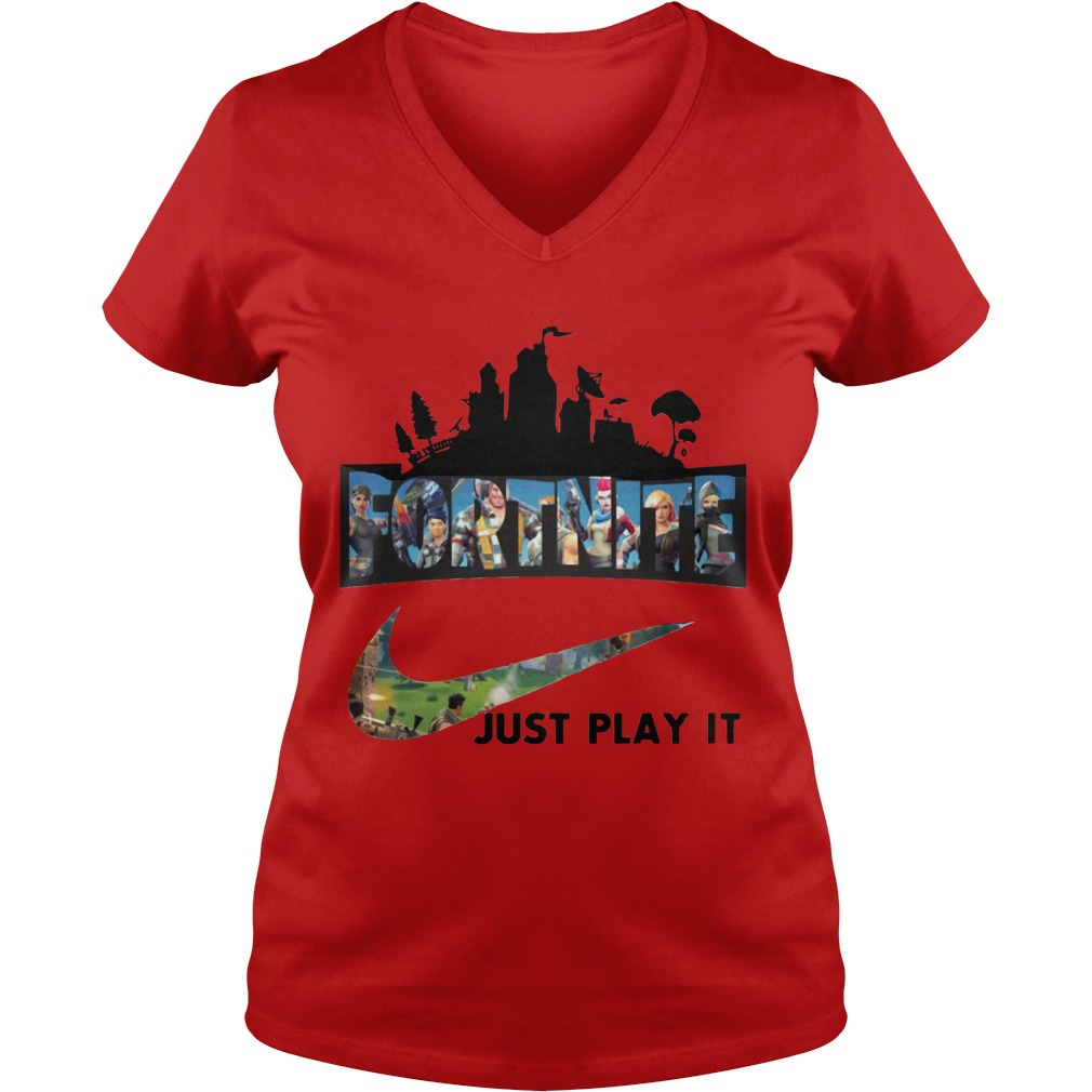 Fortnite Just Play It Red Ladies V Neck