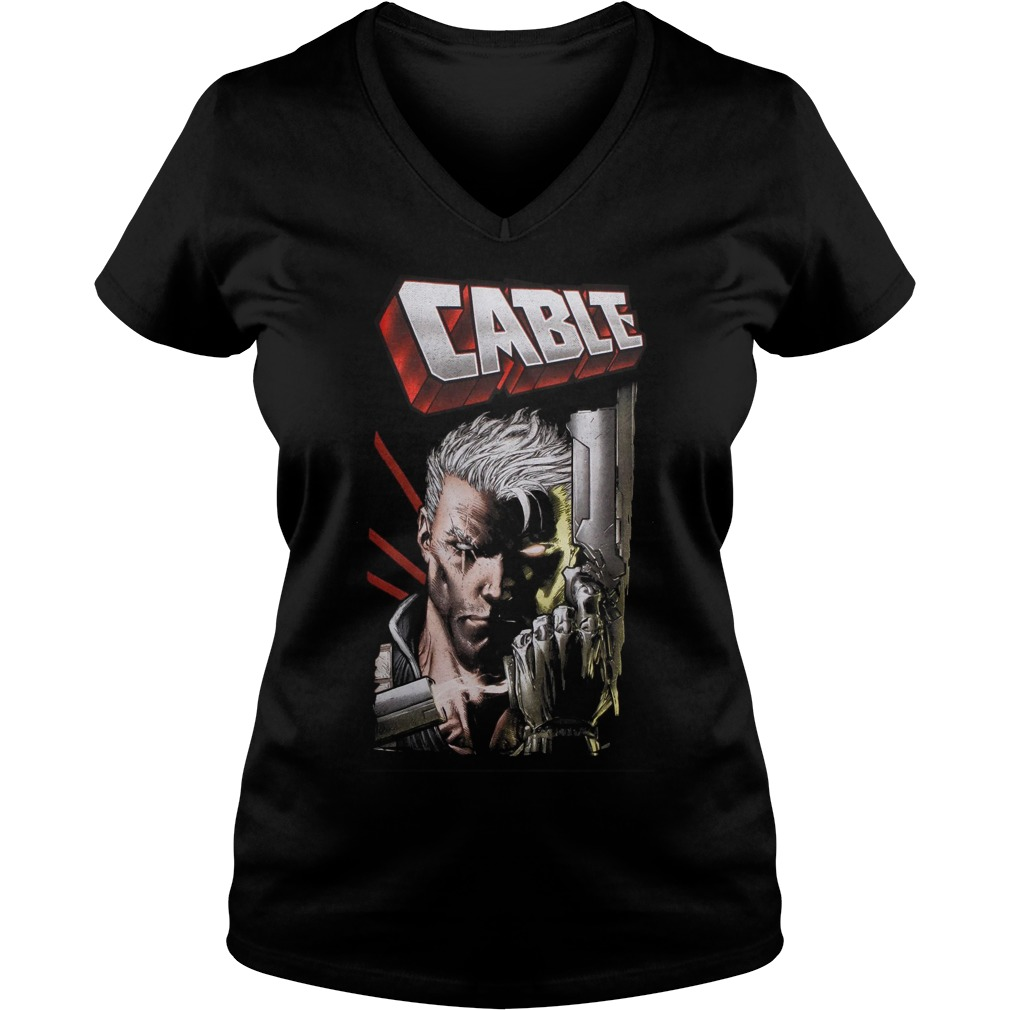 Marvel Deadpool Cable Close Up Ladies V Neck