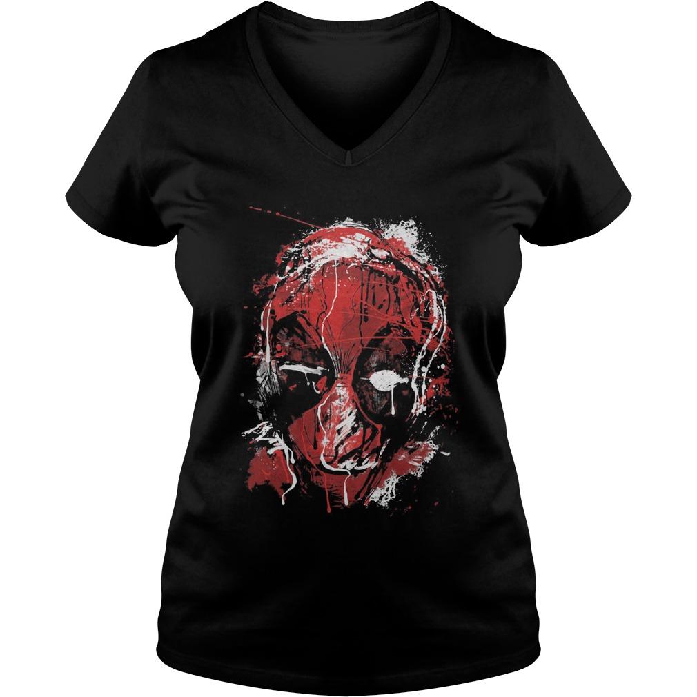 Marvel Deadpool Drip Art Ladies V Neck