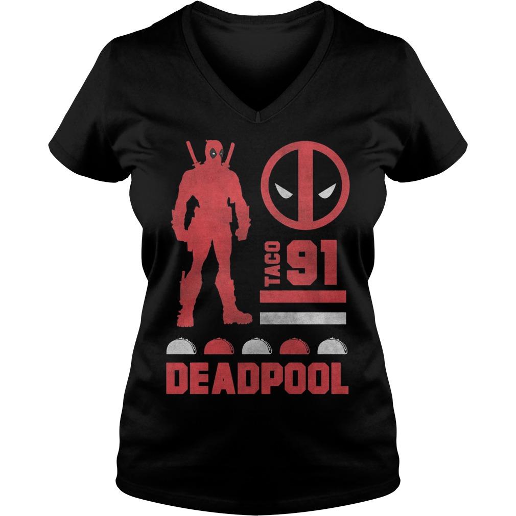 Marvel Deadpool Taco 91 Ladies V Neck
