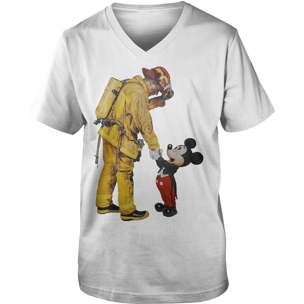 Firefighter With Mickey Mouse Guys V-Neck