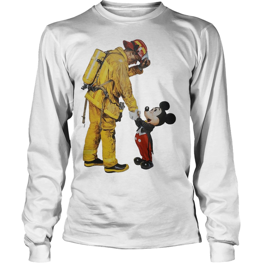 Firefighter With Mickey Mouse Longsleeve Tee