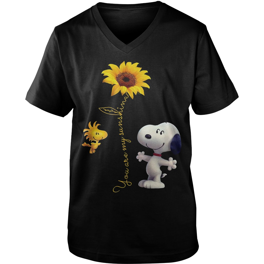 Snoopy And Woodstock Sunflower You Are My Sunshine Guys V-Neck
