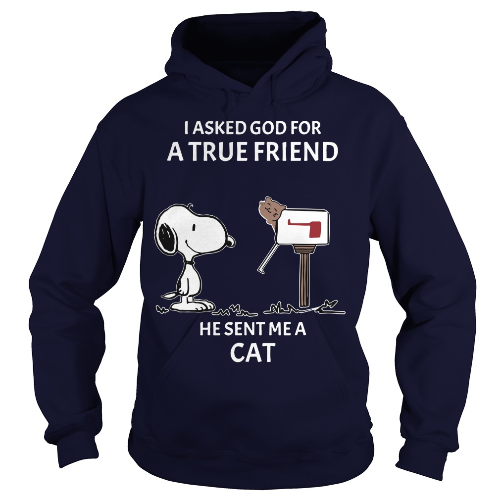 Snoopy I Asked God For A True Friend He Sent Me A Cat Hoodie