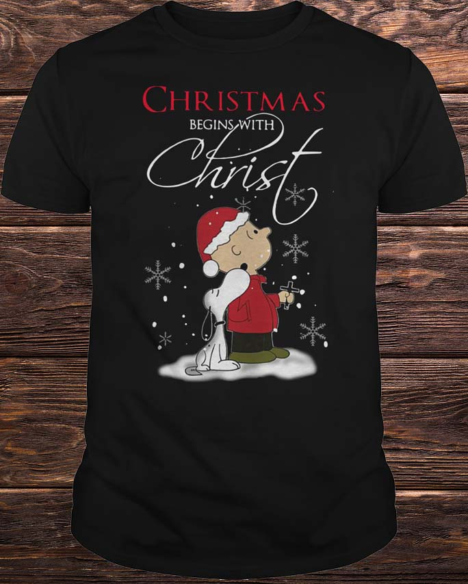 Snoopy and Charlie Christmas begin with Christ Shirt