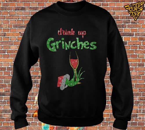 Drink Up Grinches Wine Glass Christmas Sweater