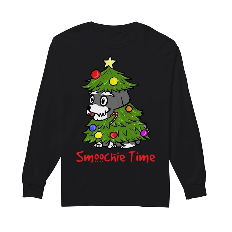 Cute Dog In Christmas Tree Smoochie Time Longsleeve Tee