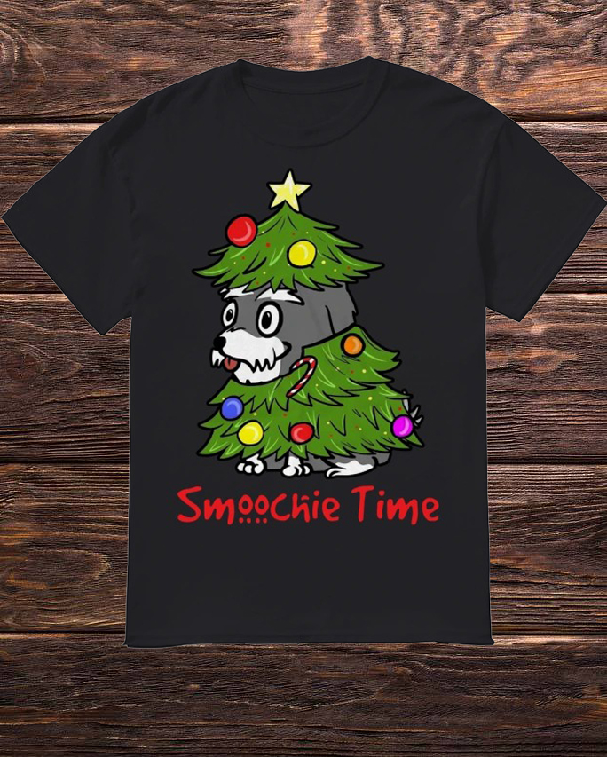 Cute Dog In Christmas Tree Smoochie Time Shirt