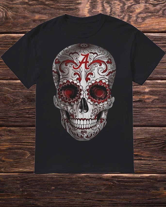 Floral Alabama Crimson Tide Skull Shirt