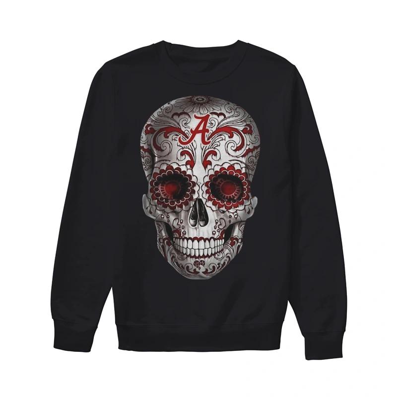 Floral Alabama Crimson Tide Skull Sweater