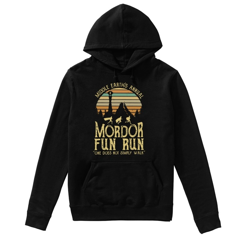 Sunset Middle Earth's Annual Mordor Fun Run One Does Not Simply Walk Hoodie