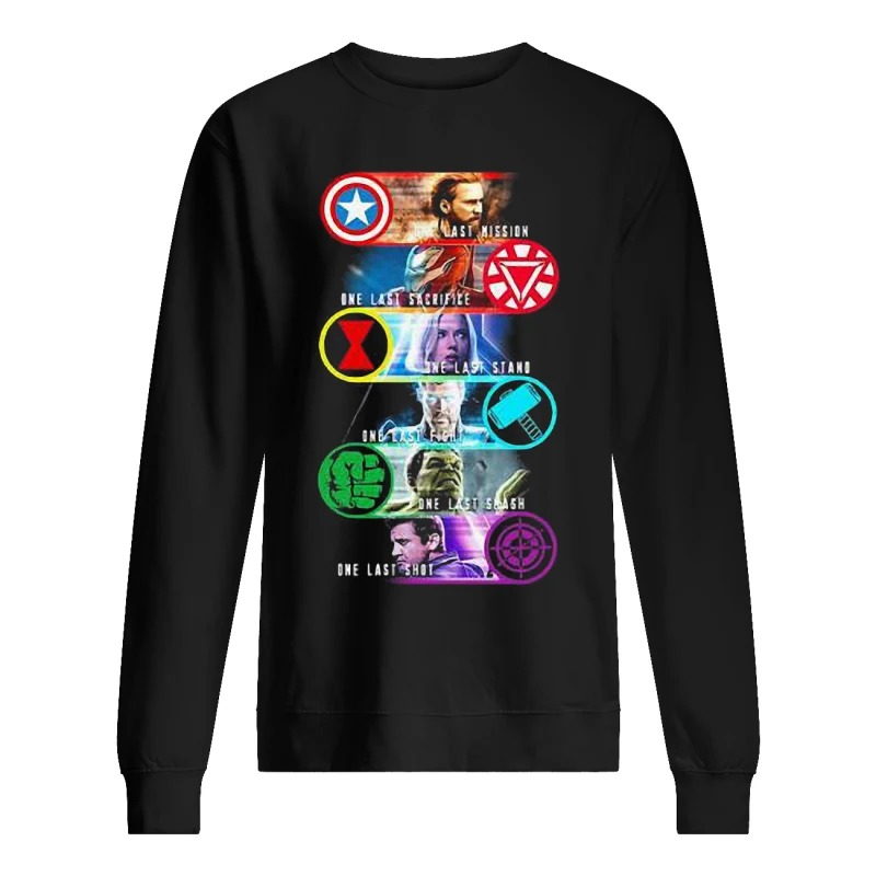 Avenger Endgame One Last Mission Sacrifice Stand Fight Smash Shot Sweater