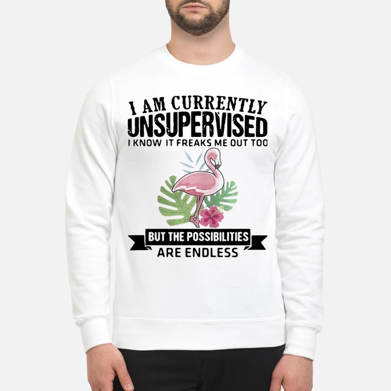 Flamingo I Am Currently Unsupervised I Know It Freaks Me Out Too But The Possibilities Are Endless Sweater