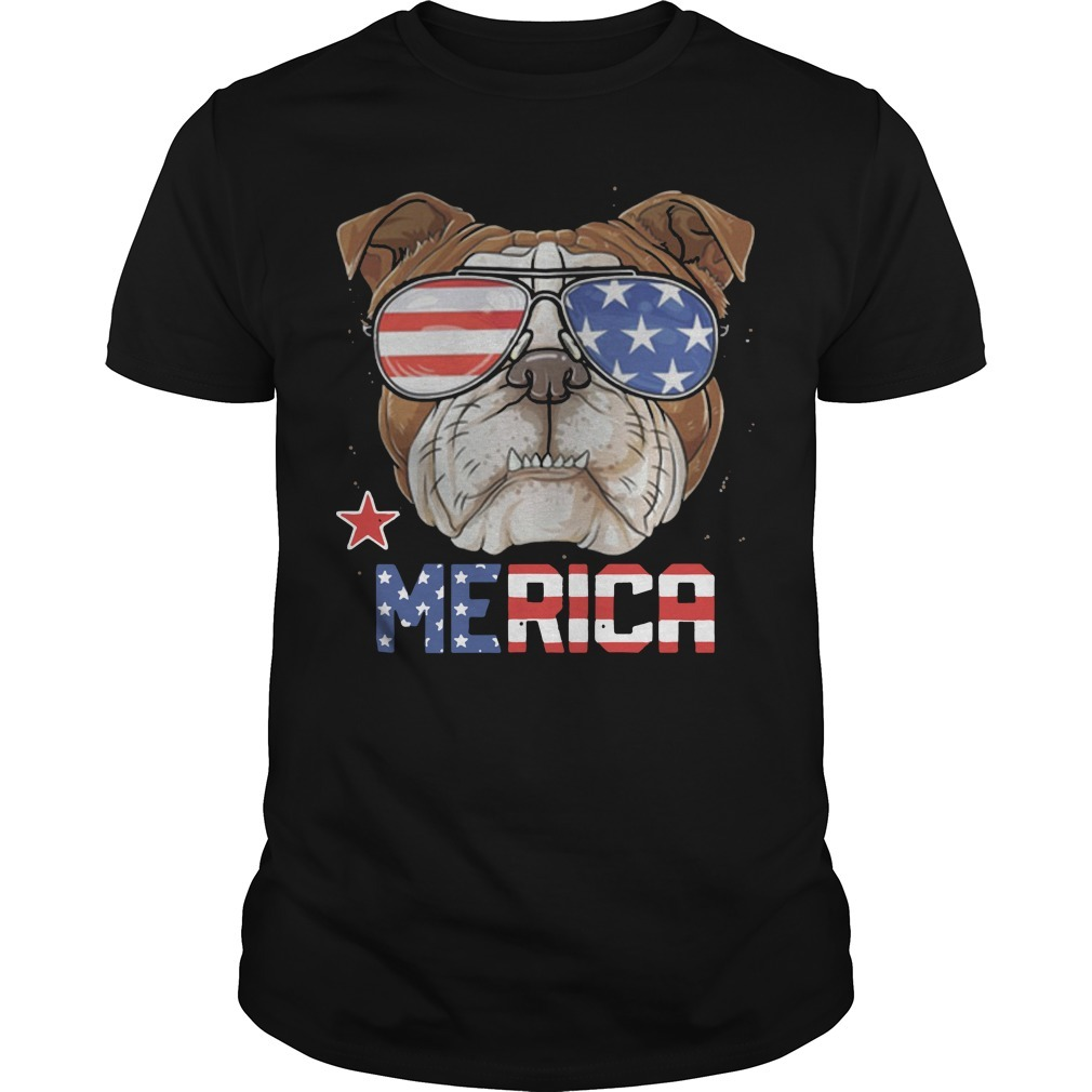 American Flag Sunglasses Bulldog Merica 4th July Independence Day Shirt
