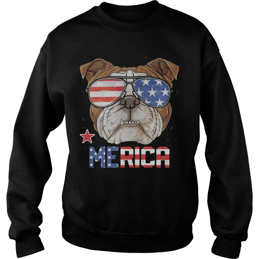 American Flag Sunglasses Bulldog Merica 4th July Independence Day Sweater