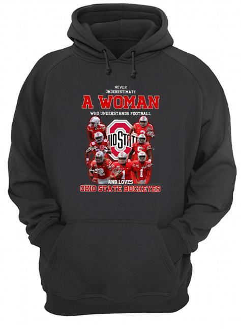 Never Underestimate A Woman Who Understands Football And Loves Ohio State Buckeyes Hoodie
