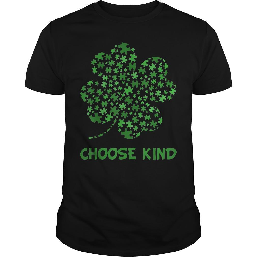 Irish Shamrock Autism Puzzle Pieces Choose Kind St Patricks Day Shirt