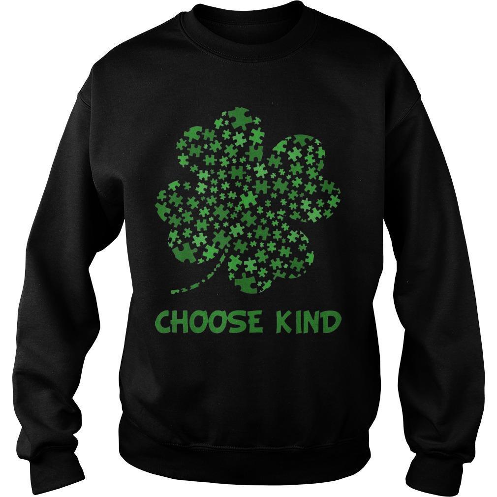 Irish Shamrock Autism Puzzle Pieces Choose Kind St Patricks Day Sweater