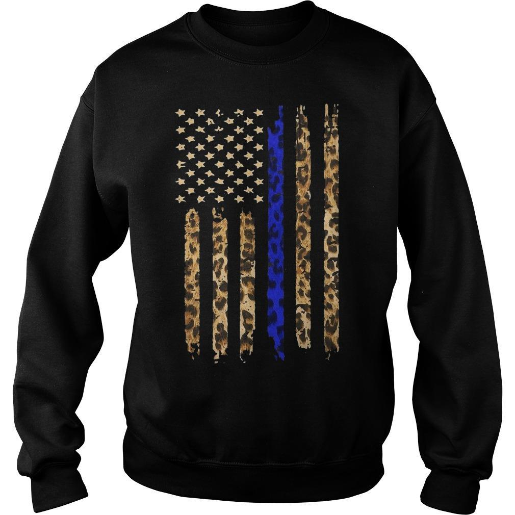 Leopard Print Thin Blue Line American Flag Sweater