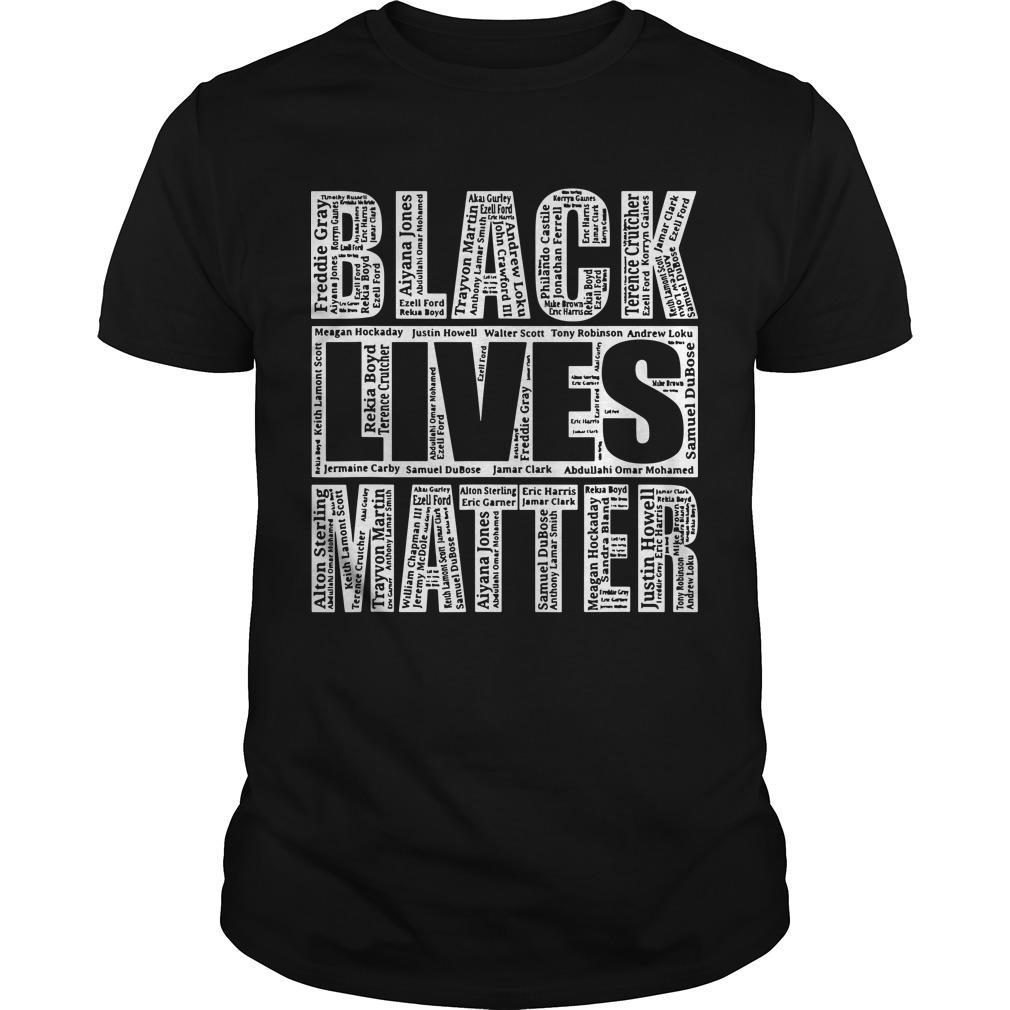 Black Lives Matter Shirt With Names Of Victims
