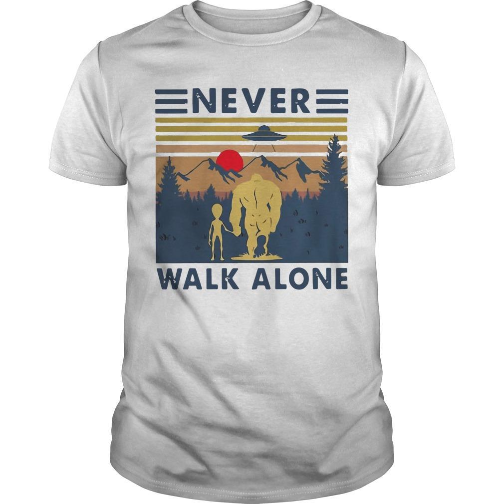 Vintage Bigfoot And Alien Never Walk Alone Shirt
