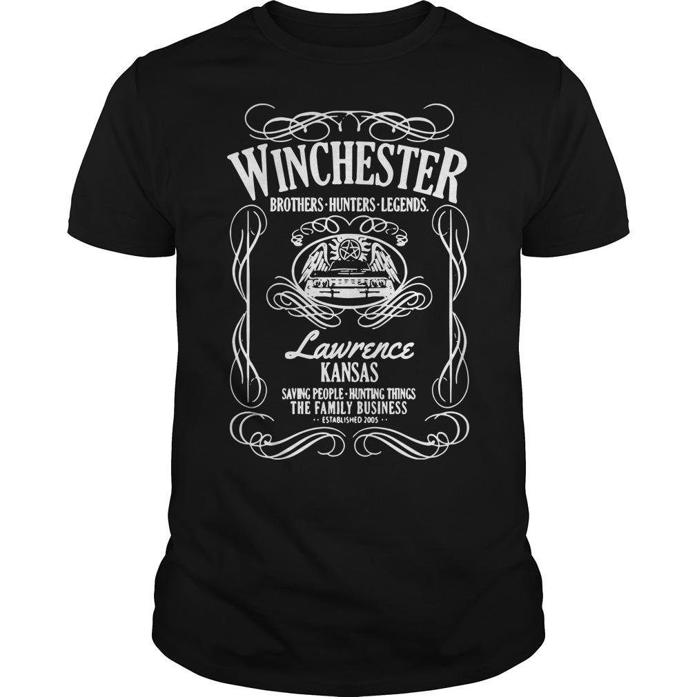 Winchester Brothers Hunters Legends Lawrence Kansas Saving People Shirt