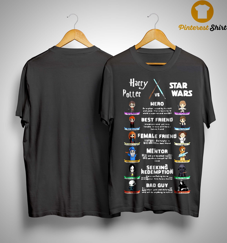 Harry Potter Vs Star Wars Hero Best Friend Female Friend Mentor Shirt
