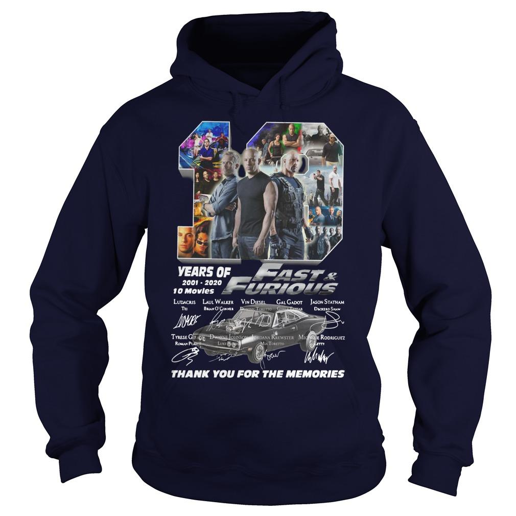 19 Years Of Fast And Furious 2001 2020 10 Movies Hoodie