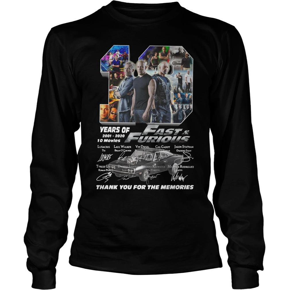 19 Years Of Fast And Furious 2001 2020 10 Movies Longsleeve