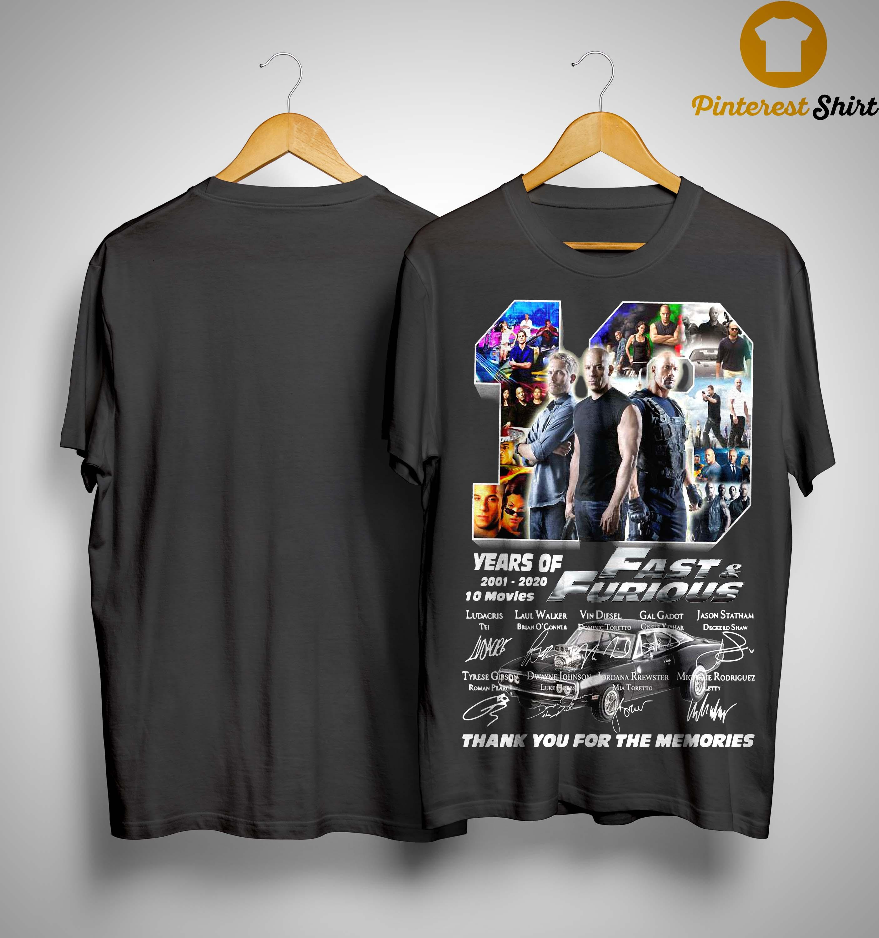 19 Years Of Fast And Furious 2001 2020 10 Movies Shirt