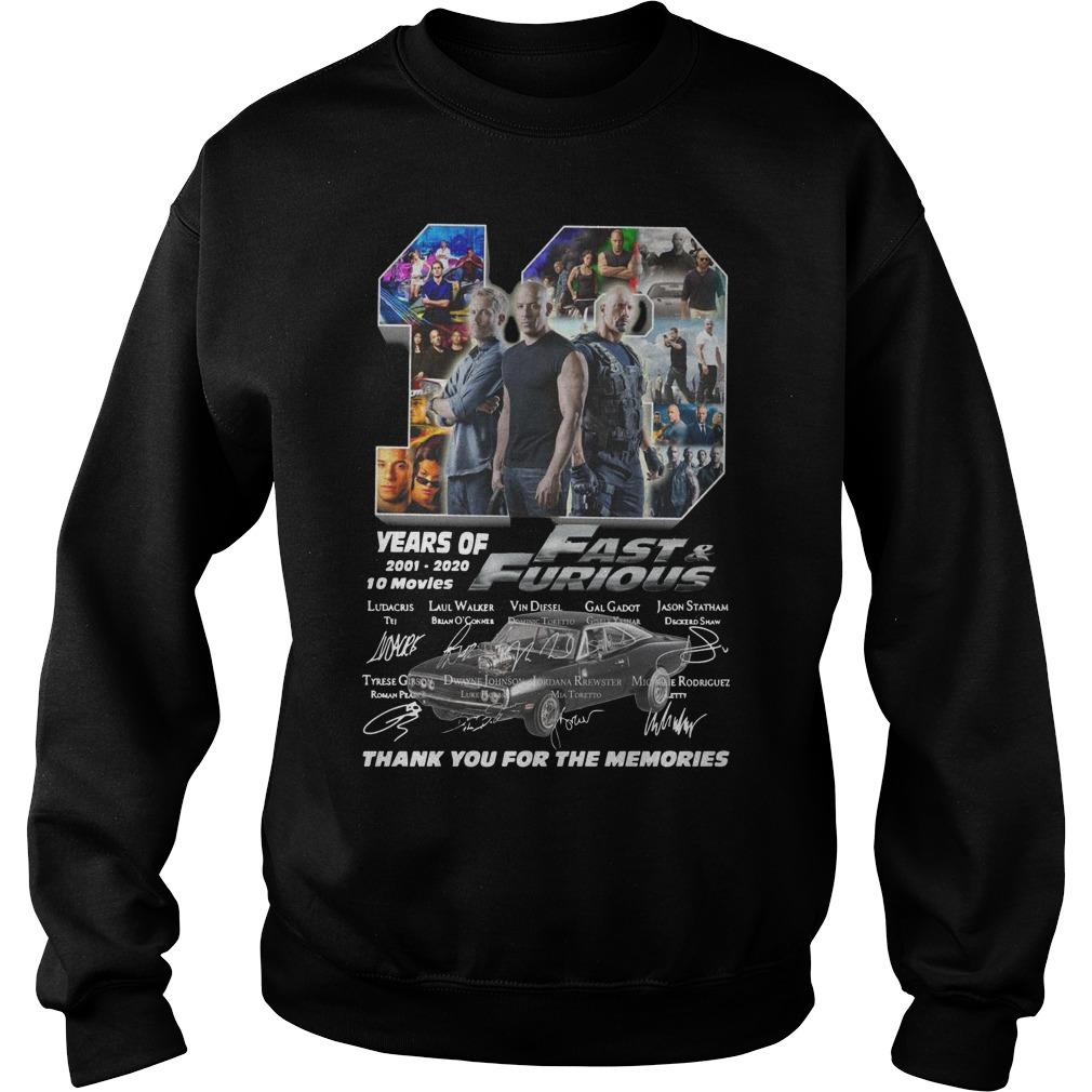 19 Years Of Fast And Furious 2001 2020 10 Movies Sweater