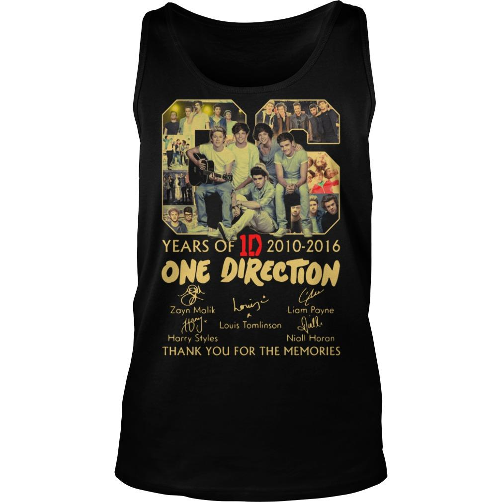 06 Years Of One Direction 2010 2016 Thank You For The Memories Tank Top