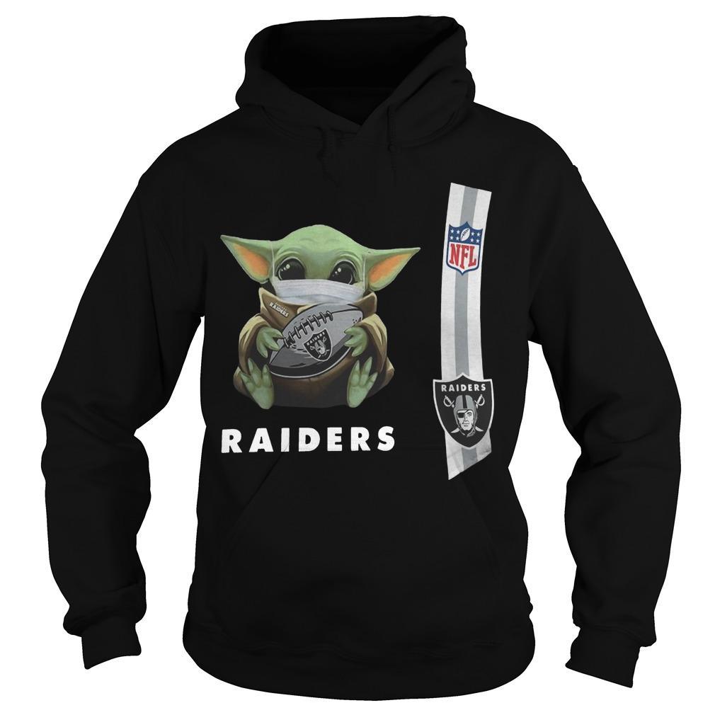 Baby Yoda Mask Oakland Raiders Nfl Hoodie