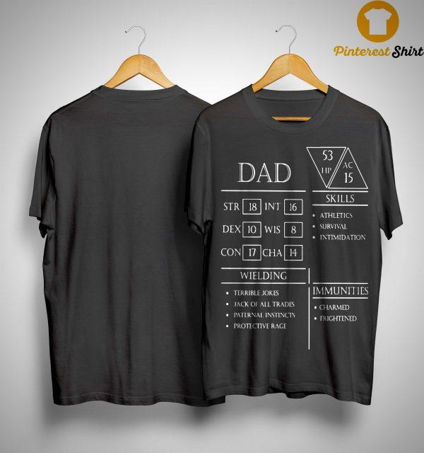 Dad Skills Athletics Survival Intimidation Wielding Terrible Jokes Shirt