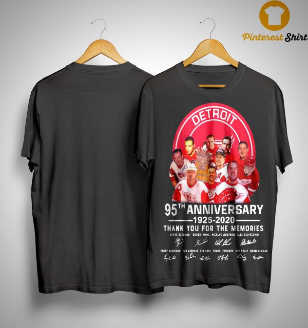 Detroit Red Wings 95th Anniversary 1925 2020 Thank You For The Memories Shirt