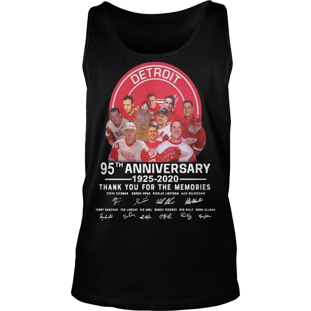 Detroit Red Wings 95th Anniversary 1925 2020 Thank You For The Memories Tank Top