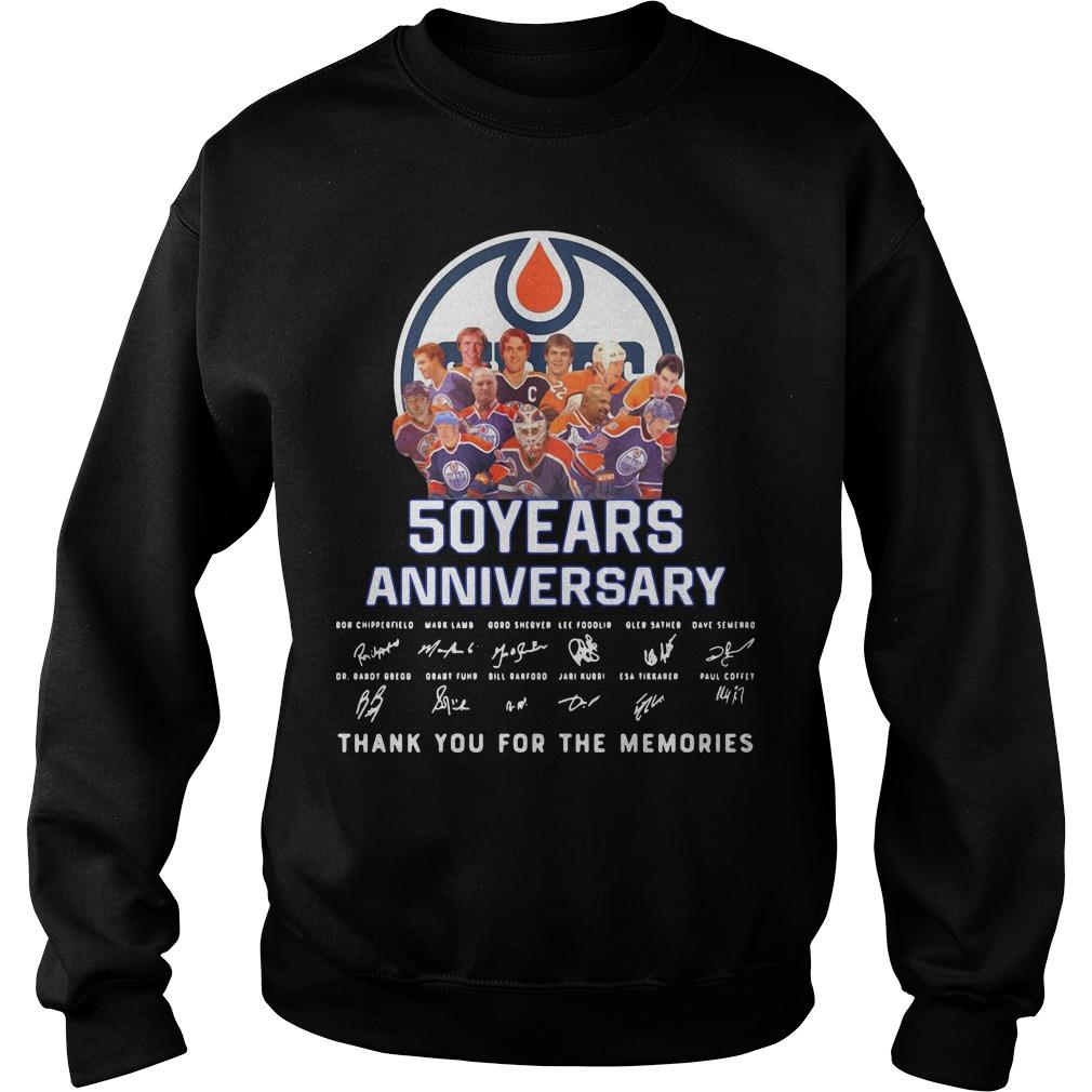 Edmonton Oilers 50 Years Anniversary Thank You For The Memories Sweater
