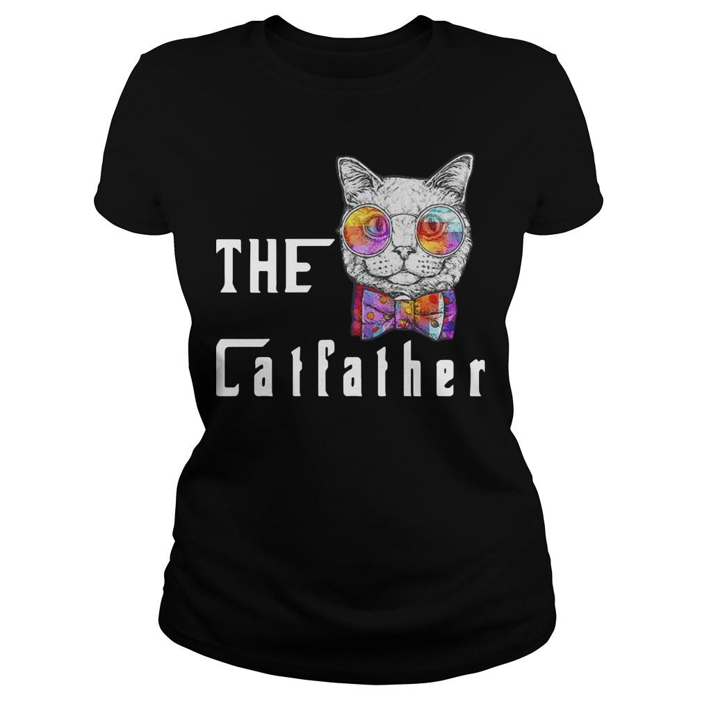 Nerd Cat With Glasses And Bow The Catfather Longsleeve